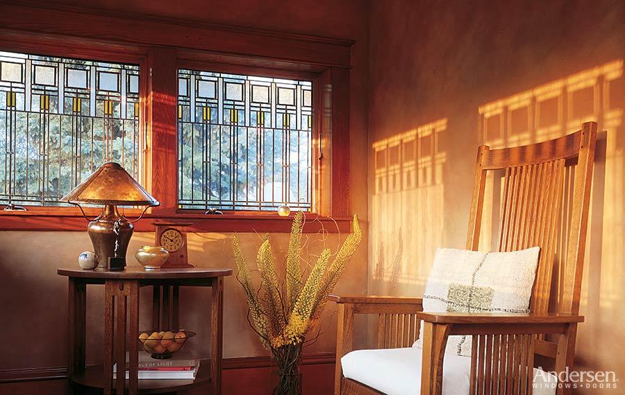 Windows doors skylights hardware economy lumber company for Andersen windows art glass